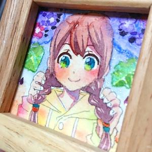 (ミニ原画) 紫陽花の女の子