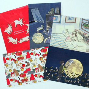 Schinako's Art Postcard (Bunnies and Dandelion)