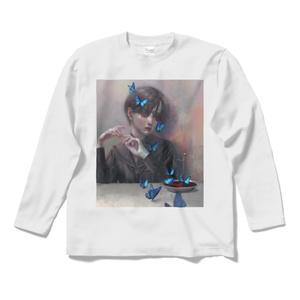 「蝶」ロングスリーブTシャツ白&黒