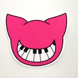 ピンク 鍵盤スマイルねこステッカー