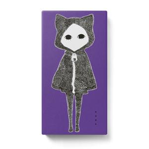 キズねこ紫 モバイルバッテリー