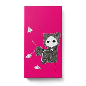 紙飛行機キズねこピンク モバイルバッテリー