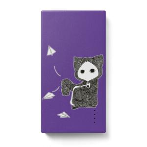 紙飛行機キズねこ紫 モバイルバッテリー