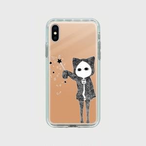 【受注生産】魔法使いキズねこ iPhoneXミラーケース ピンク