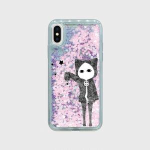【受注生産】魔法使いキズねこ iPhoneXグリッターケース パステルハート