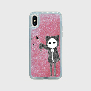 【受注生産】魔法使いキズねこ iPhoneXグリッターケース ローズピンク