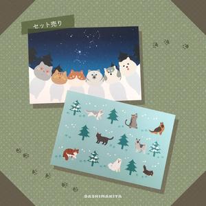 2種類のポストカードセット 冬と雪と星