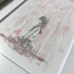 額装原画「止まない雨」