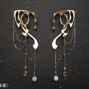 エルフ耳イヤーフック/本体+装飾1種類(片耳)
