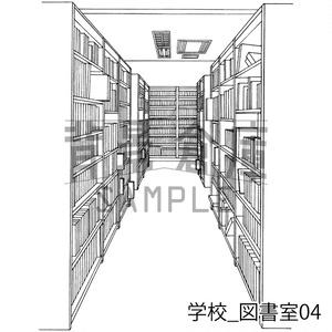 学校の背景集_セット23(図書室)