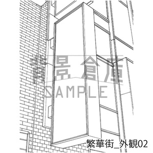 繁華街の背景集_セット7(外観)