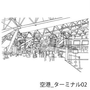 空港の背景集_セット1(ターミナル・飛行機)