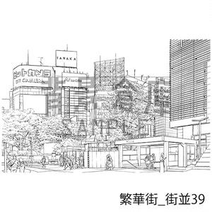 繁華街の背景_セット8(街並)