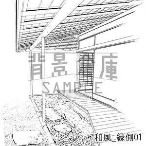 和風の背景_セット2(縁側 塀 門)