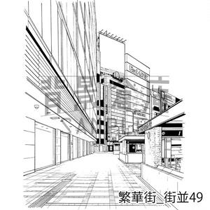 繁華街の背景集_セット9(街並)