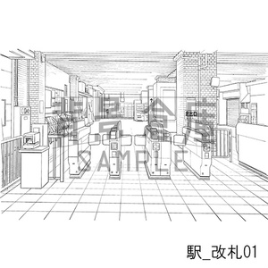 駅の背景集_セット3(改札 外観)