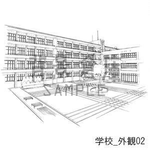 学校の背景集_セット10(外観)