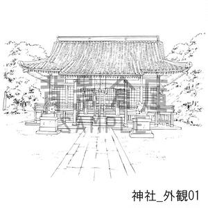 神社の背景集_セット1(外観 参道)