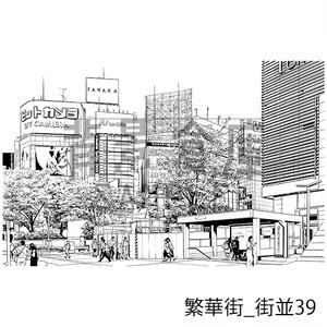 繁華街の背景集_セット8(街並)_トーン