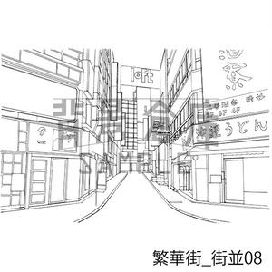 繁華街の背景集_セット2(街並)