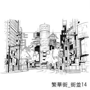 繁華街の背景集_セット3(街並)