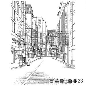 繁華街の背景集_セット4(街並)