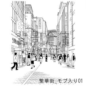 繁華街の背景集_セット5(モブ入り)