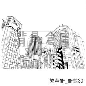 繁華街の背景集_セット6(街並)