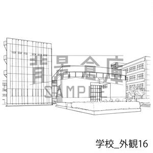 学校の背景集_セット22(外観)