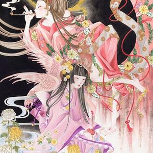 【原画・額付き】夢見る菊人形