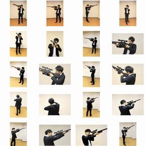 左利きキャラのためのライフルポーズモデル集 vol.1 <立射 standing 上方を狙う>