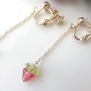 小さい苺のイヤリング
