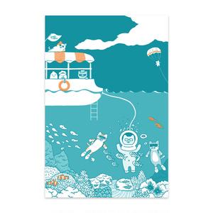【絵ハガキ】メガネコさんの海中さんぽ