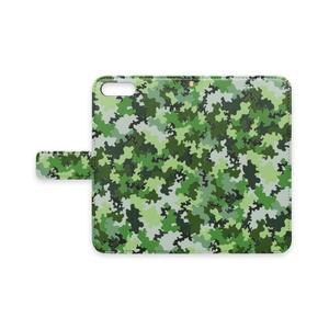 手帳型iPhoneケース 迷彩柄緑