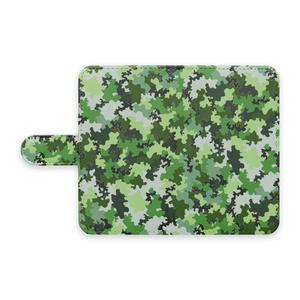 手帳型スマホケース 迷彩柄緑