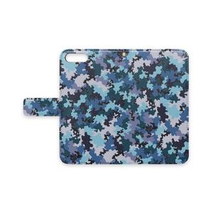 手帳型iPhoneケース 迷彩柄青