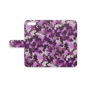 手帳型iPhoneケース 迷彩柄紫
