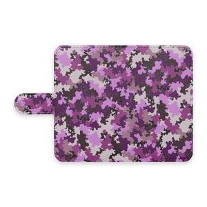 手帳型スマホケース 迷彩柄紫