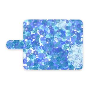 手帳型スマホケース 雪の結晶