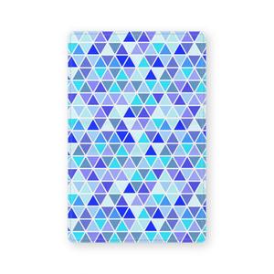レザー製名刺入れ 青色三角形
