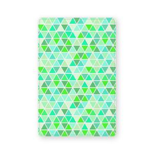 レザー製名刺入れ 黄緑三角形