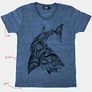 ホホジロザメTシャツ/ヘザーグレー