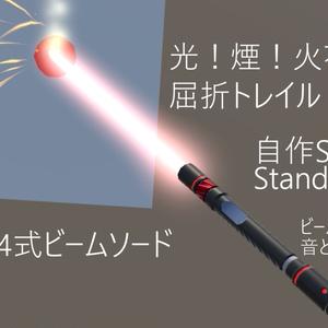 【ビームサーベル】【ライトセーバー】84式ビームソード【屈折・トレイル・音・アニメーション・光・煙・火花・穴】【自作Shader付き】【ポイントライト】