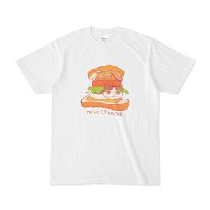 Tシャツ(ねこサンド・センター・背景なし)