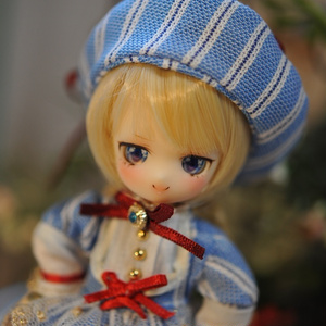 カスタムワンオフドール【ストライプ編み上げベレー帽ちゃん】