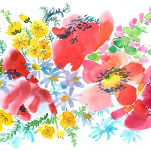 「赤い花束」Mサイズエコバッグ