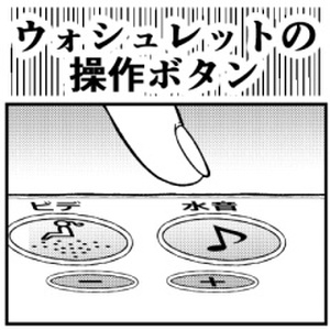 ウォシュレットの操作ボタン/弁当パックと値引きシール