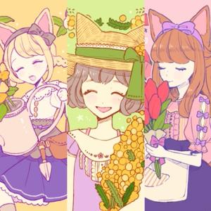 お花のハート缶バッチ
