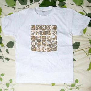 【Love Bugs!】むしアイコン Tシャツ(ホワイト×ゴールド)