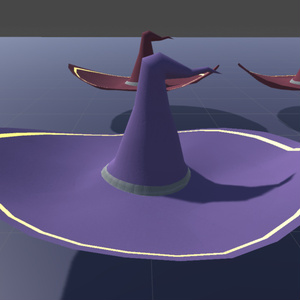 【オリジナル3Dモデル】魔法使いの帽子と杖(ローポリモデル)